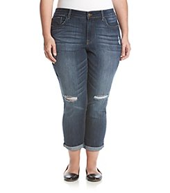 Jessica Simpson Plus Size Roll Cuff Ripped Slim Ankle Jeans