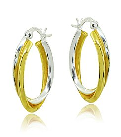 Designs by FMC Two-Tone Twist Click-Top Hoop Earrings