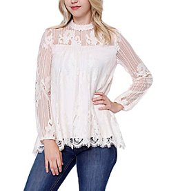 Skylar & Jade™ All Over Lace High Neck Blouse