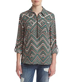 Sequin Hearts® Zip Front 3/4 Roll Sleeve Shirt