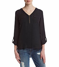 Sequin Hearts® 3/4 Roll Sleeve High Low Utility Shirt