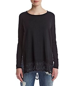 Sequin Hearts® Crochet Back Lace Trim Pullover Sweater