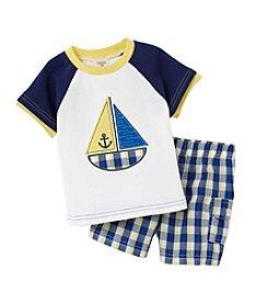 Cuddle Bear® Baby Boys 2-Piece Sailboat Top And Plaid Shorts Set
