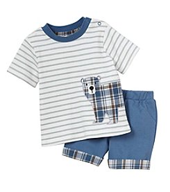 Cuddle Bear® Baby Boys 2-Piece Bear Top And Short Set