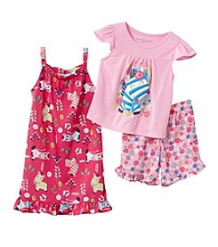 Komar Kids Girls' 3-Piece Zebra Sleepwear Set