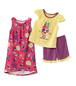 Komar Kids® Girls' 2T-4T 3-Piece Pineapple Sleepwear Set