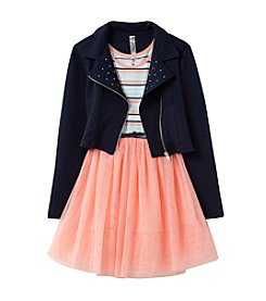 Beautees Girls' 7-16 Striped Sleeveless Dress And Moto Jacket