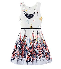 Beautees Girls' 7-16 Floral Dress With Belt
