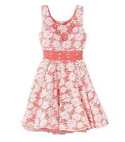 Beautees Girls' 7-16 Allover Floral Dress With Belt