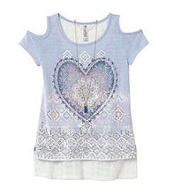 Beautees Girls' 7-16 Cold Shoulder Top With Necklace
