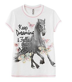 Beautees Girls' 7-16 Keep Dreaming Horse Short Sleeve Tee
