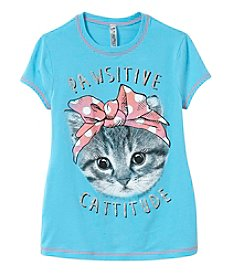Beautees Girls' 7-16 Pawsitive Cattitude Short Sleeve Tee