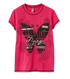 Beautees Girls' 7-16 Like Flying Butterfly Short Sleeve Tee
