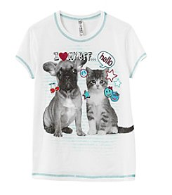 Beautees Girls' 7-16 Cat BFF Short Sleeve Tee