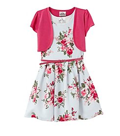Beautees Girls' 2T-6X Floral Dress With Cardigan And Belt