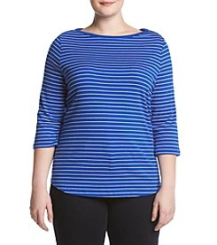 Studio Works® Plus Size Bateau Stripe Pullover Top