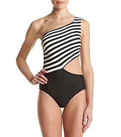 MICHAEL Michael Kors® Stripe One Shoulder Cut Out One Piece