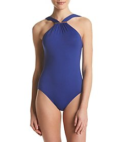 MICHAEL Michael Kors® Logo Bar High Neck One Piece Suit