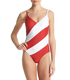 MICHAEL Michael Kors® V-Neck One Piece Swim Suit