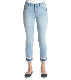 Earl Jean® Petites' Skinny Ankle Embroidered Hem Jeans