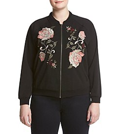 Democracy Plus Size Floral Bomber Jacket