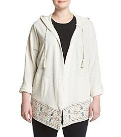 Democracy Plus Size Hooded Border Cardigan