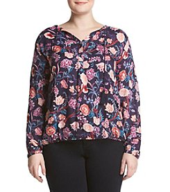 Lucky Brand® Plus Size Floral Tassle Blouse