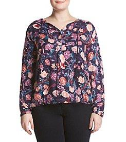 Lucky Brand® Plus Size Floral Tassle Blouse