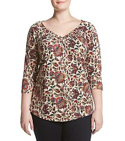 Lucky Brand® Plus Size Pintuck Printed Top