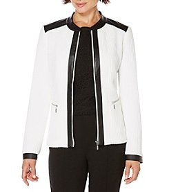 Rafaella® Petites' Texture Grid Zip Up Jacket