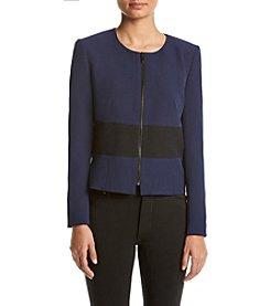 Kasper® Crepe Zip Jacket