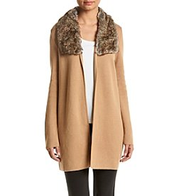 Kasper® Fur Trim Cardigan