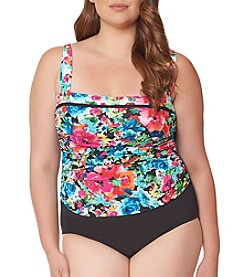 Bleu Rod Beattie® Plus Size Floral Floating Underwire Mio One Piece Swimsuit