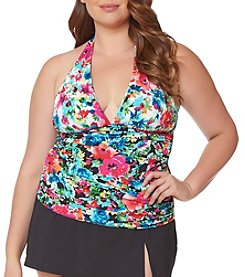 Bleu|Rod Beattie® Plus Size Floral Halter Tankini Top
