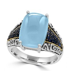 Effy® 925 Sterling Silver/18K Yellow Gold Chalcedony Quartz and Sapphire Ring