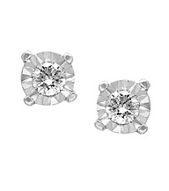 Effy® .25 ct. t.w. Diamond Miracle Plate Earrings in 14K White Gold