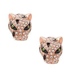 Effy® .45 ct. t.w. Diamond and Tsavorite Earrings in 14K Rose Gold