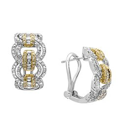 Effy® 14K White & Yellow Gold Diamond Earrings