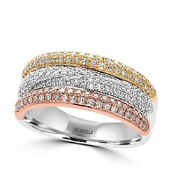 Effy® 14K White, Yellow And Rose Gold Diamond Ring