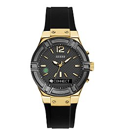 GUESS Connect Black and Goldtone Smart Watch