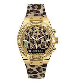 GUESS Connect Leopard Print Crystal Bezel Smart Watch