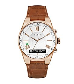 GUESS Connect Tan Textured Dial Smart Watch, 41mm