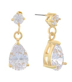 Gloria Vanderbilt™ CZ Double Drop Teardrop Earrings