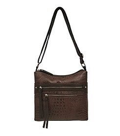 GAL Leather Double Cross Zip Front Hobo Crossbody