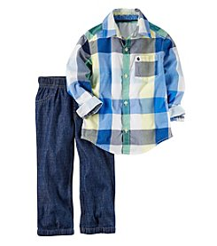 Carter's® Boys' 2T-7 2-Piece Plaid Woven And Denim Set