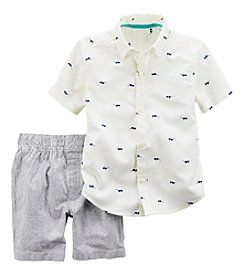 Carter's® Boys' 2T-4T 2-Piece Woven Shirt And Shorts Set