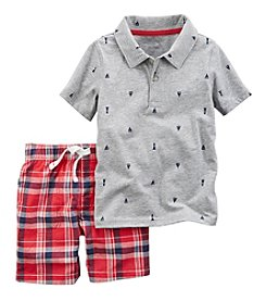 Carter's® Boys' 2T-4T 2-Piece Sailboat Shirt And Plaid Shorts Set