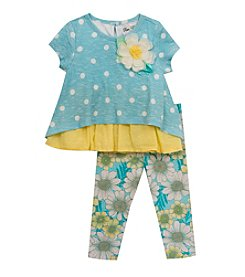 Rare Editions® Baby Girls' Polka-Dot Daisy Leggings Set