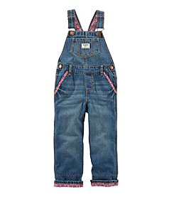 OshKosh B'Gosh® Baby Girls' Denim Overalls with Floral Binding