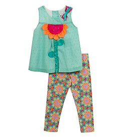 Rare Editions® Girls' 2T-4T 2-Piece Flower Take And Floral Leggings Set